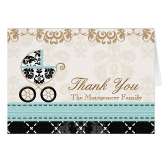 Eggshell Blue Damas Baby Carriage Shower Thank You Card