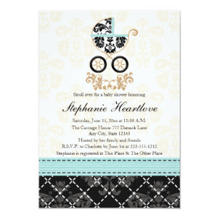 Upscale baby boy shower invitations zazzle eggshell blue damask baby carriage baby shower invitation filmwisefo