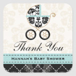 Eggshell Blue Damask Baby Carriage Thank You Square Sticker