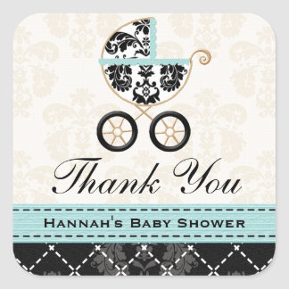 Eggshell Blue Damask Baby Carriage Thank You Sticker