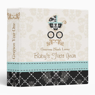 Eggshell Blue Damask Carriage Baby Photo Album 3 Ring Binders