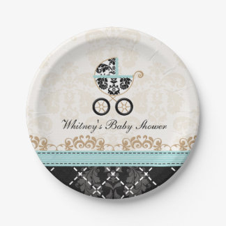 Eggshell Blue Damask Carriage Baby Shower Paper Plate