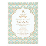 Eggshell Blue Gold Moroccan Baby Boy Shower 5x7 Paper Invitation Card