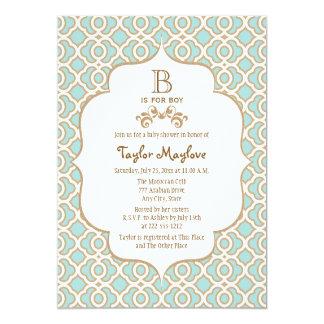 Eggshell Blue Gold Moroccan Baby Boy Shower 5x7 Paper Invitation Card