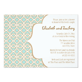 Eggshell Blue Gold Moroccan Couples Wedding Shower Card