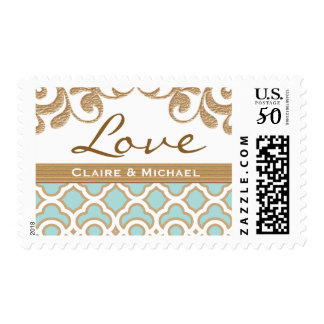 Eggshell Blue Gold Moroccan Love Wedding Postage