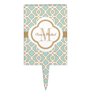 Eggshell Blue Gold Moroccan Monogram Couples Cake Topper
