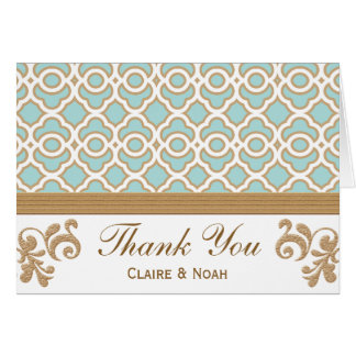 Eggshell Blue Gold Moroccan Thank You Wedding Card