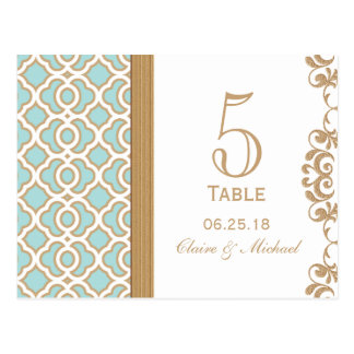 Eggshell Blue Gold Moroccan Wedding Table Number Postcard