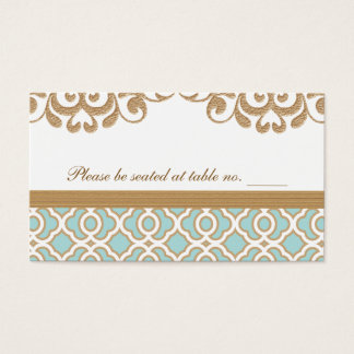Eggshell Blue Gold Moroccan Wedding Table Place Business Card