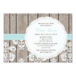 "Eggshell Blue Lace Rustic Bridal Shower Invitation 5"" X 7"" Invitation Card"