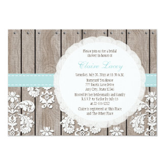 Eggshell Blue Lace Rustic Bridal Shower Invitation
