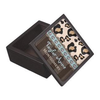 Eggshell Blue Leopard Print Keepsake Gift Box