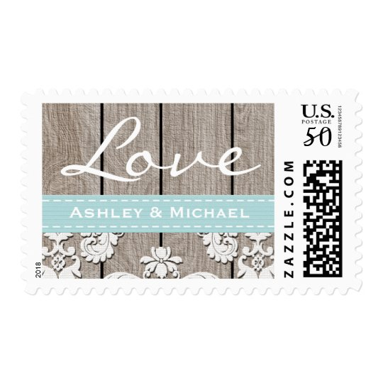 Eggshell Blue Rustic Wood Lace Love Wedding Postage