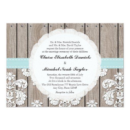 "Eggshell Blue Rustic Wood Lace Wedding Invitations 5"" X 7"" Invitation Card"