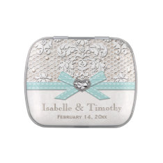 Eggshell Blue Vintage Lace Pearl Wedding Favor Candy Tin at Zazzle