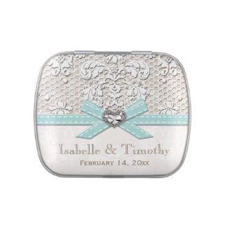 Eggshell Blue Vintage Lace Pearl Wedding Favor Candy Tin