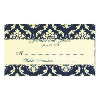 Eggshell Paper Navy Damask Wedding Place Card Business Card