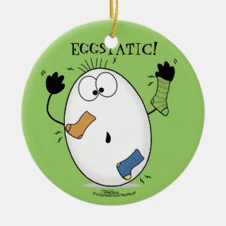 Eggstatic-Ecstatic Egg Ceramic Ornament