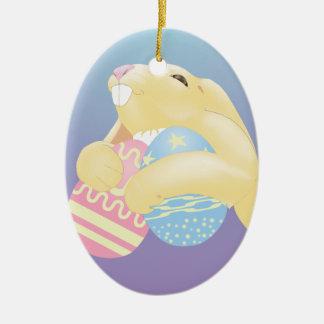 Eggy Bunny Ceramic Ornament