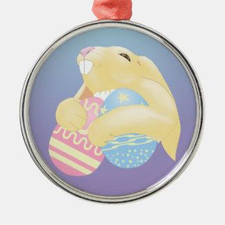Eggy Bunny Metal Ornament