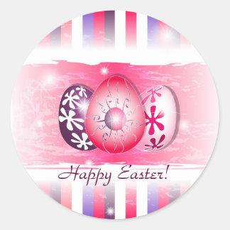 Eggy feliz Pascua que desea tarjetas Pegatina Redonda