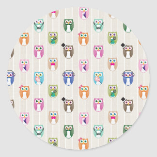 Eggy Owls - orderly ver - Classic Round Sticker