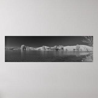Egin Lakes Panorama Black and White Poster