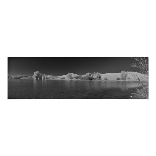 Egin Lakes Panorama Black and White Poster