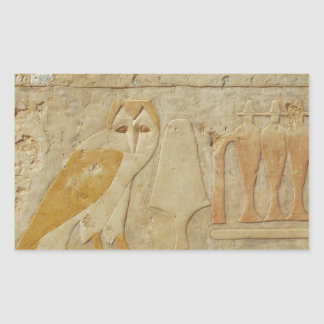 Egipcio antiguo de la lechuza común pegatina rectangular