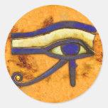Egipcio antiguo el ojo de Horus Etiqueta Redonda