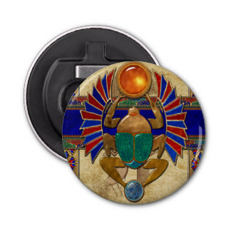 Egipcio del sarcófago 3D Abrebotellas Redondo