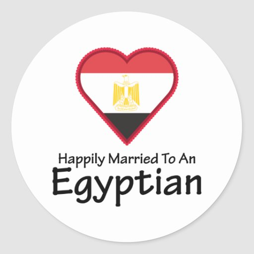 Egipcio feliz casado etiqueta redonda