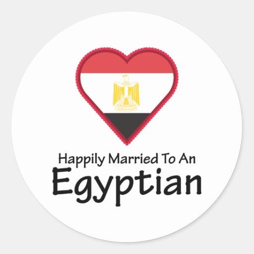 Egipcio feliz casado pegatina redonda