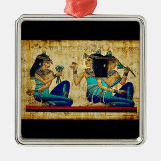 Egipto antiguo 6 adorno navideño cuadrado de metal