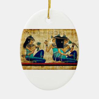 Egipto antiguo 6 adorno navideño ovalado de cerámica