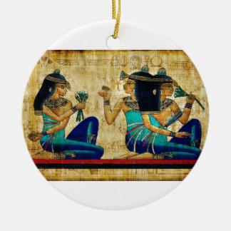 Egipto antiguo 6 adorno navideño redondo de cerámica