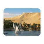 Egipto, Asuán, el río Nilo, veleros de Felucca, 2 Iman Rectangular