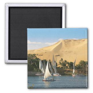 Egipto, Asuán, el río Nilo, veleros de Felucca, 2 Imán Cuadrado