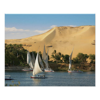 Egipto, Asuán, el río Nilo, veleros de Felucca, 2 Póster