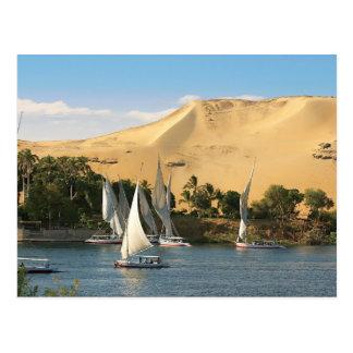 Egipto, Asuán, el río Nilo, veleros de Felucca, 2 Tarjetas Postales