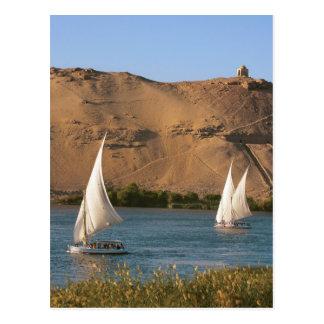 Egipto, Asuán, el río Nilo, veleros de Felucca, Postal