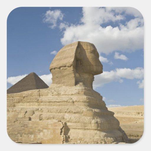 Egipto, Giza. El gran Sphynx sube sobre Pegatina Cuadrada