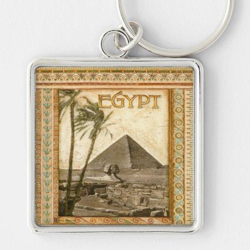Egipto, pirámide llavero cuadrado plateado