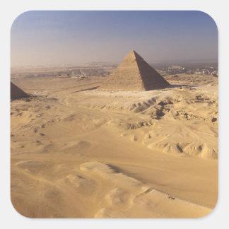 Egipto, pirámides en Giza, Khafre, Khufu, Menkaure Calcomania Cuadradas