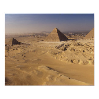 Egipto, pirámides en Giza, Khafre, Khufu, Menkaure Póster