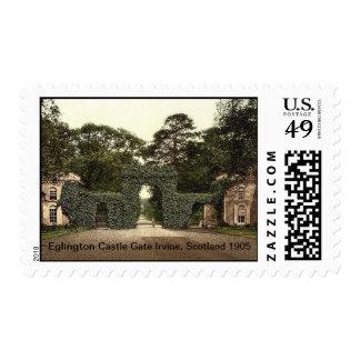 Eglington Castle gate Irvine, Scotland 1905 Postage
