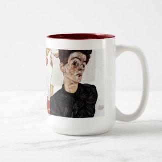 Egon Schiele and Self portrait, 1912 Two-Tone Coffee Mug