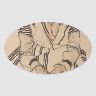 Egon Schiele- Artist's Sister in Law Oval Sticker