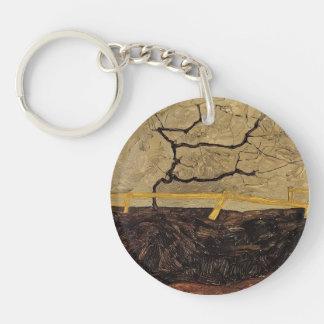 Egon Schiele- Bare Tree behind a Fence Single-Sided Round Acrylic Keychain